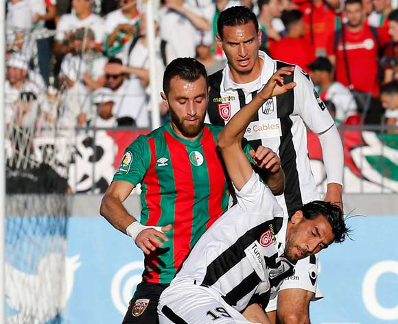 Club Sportif Sfaxien player  Maher Hannachi  (R) fights for the ball with Mouloudia Club D'Alger player  Walid Derrardja  (L) during the 2017 CAF Confederations Cup game between Sfaxien and Mouloudia Club D'Alger in Sfax, Tunisia on 8 July 2017 © BackpagePix