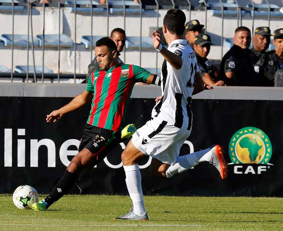 Club Sportif Sfaxien player  Houcem Dagdoug  (R) fights for the ball with Mouloudia Club D'Alger player Abderrahmane Hachoud  ( L) during the 2017 CAF Confederations Cup game between Sfaxien and Mouloudia Club D'Alger in Sfax, Tunisia on 8 July 2017 © BackpagePix