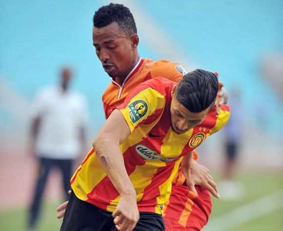 Esperance Sportive de Tunis player  ( Front ) fights for the ball with Saint George S.C. player   Mentsenot Adane  Umema during the 2017 CAF Champions League game between Esperance and Saint George Tunis, Tunisia on 9 July 2017 © BackpagePix