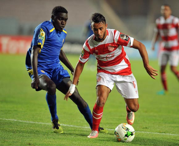 Club Africain player Mootaz Zemezmi (R) fights for the ball with Kampala City Council FC player  Paul Mucureezi (L) during the 2017 CAF Confederations Cup game between Club Africain and  Kampala City Council FC at Stade Olympique Rades in Tunis, Tunisia on 07 July 2017 © BackpagePix
