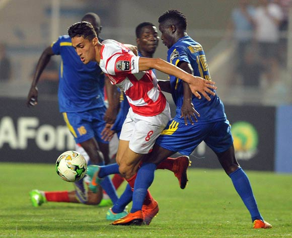 Club Africain player  Chiheb Jbeli  (L) fights for the ball with Kampala City Council FC player  Ibrahim Kizza  (R) during the 2017 CAF Confederations Cup game between Club Africain and  Kampala City Council FC at Stade Olympique Rades in Tunis, Tunisia on 07 July 2017 © BackpagePix