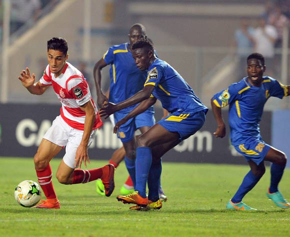 Club Africain player  Chiheb Jbeli  (L) fights for the ball with Kampala City Council FC player  Ibrahim Kizza  (C) during the 2017 CAF Confederations Cup game between Club Africain and  Kampala City Council FC at Stade Olympique Rades in Tunis, Tunisia on 07 July 2017 © BackpagePix