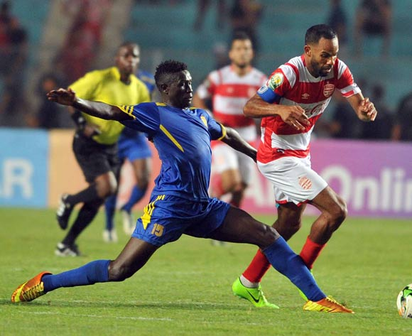 Club Africain player Saber Khalifa  (R) fights for the ball with Kampala City Council FC player Ibrahim Kizza (L) during the 2017 CAF Confederations Cup game between Club Africain and  Kampala City Council FC at Stade Olympique Rades in Tunis, Tunisia on 07 July 2017 © BackpagePix