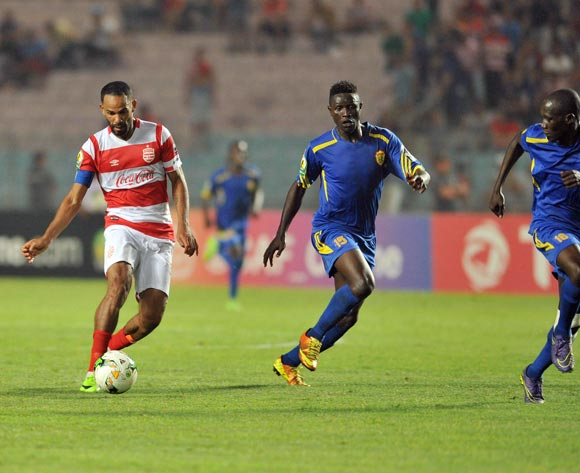 Club Africain player Saber Khalifa  (L) fights for the ball with Kampala City Council FC players Ibrahim Kizza (C) Brian Umony (R) during the 2017 CAF Confederations Cup game between Club Africain and  Kampala City Council FC at Stade Olympique Rades in Tunis, Tunisia on 07 July 2017 © BackpagePix