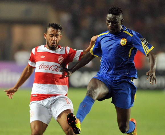 Club Africain player Mootaz Zemezmi (L) fights for the ball with Kampala City Council FC player Ibrahim Kizza (R) during the 2017 CAF Confederations Cup game between Club Africain and  Kampala City Council FC at Stade Olympique Rades in Tunis, Tunisia on 07 July 2017 © BackpagePix