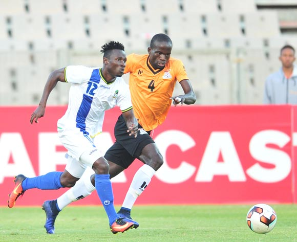 Saimon Msuva of Tanzania challenged by Adrian Chama of Zambia during 2017 Cosafa Castle Cup match between Zambia and Tanzania at Moruleng Stadium in Rustenburg on 05 July 2017 ©Samuel Shivambu/BackpagePix