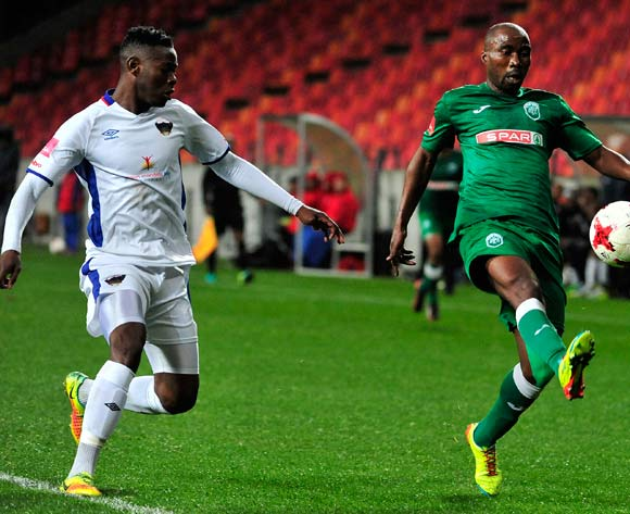 Siyabonga Nomvethe of Amazulu FC keeps the ball from Zitha Macheke of Chippa United during the Absa Premiership 2017/18 game between Chippa United and Amazulu  at Nelson Mandela Bay Stadium in Port Elizabeth on 22 August 2017 © Deryck Foster/BackpagePix