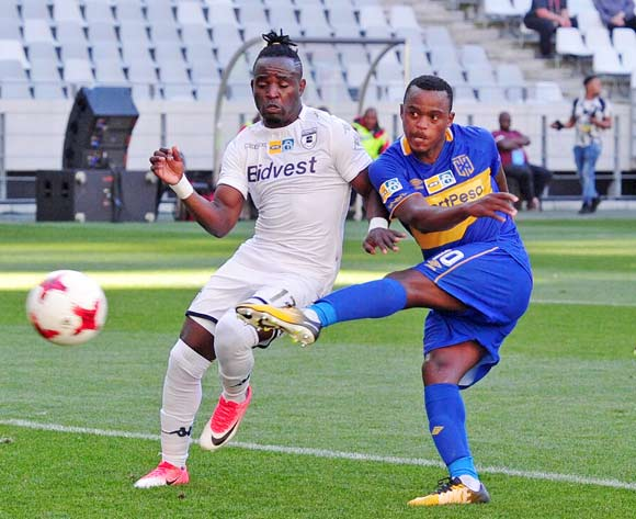 Ayanda Patosi of Cape Town City shoots and scores despite the efforts of Sifiso Hlanti of Bidvest Wits during the 2017 MTN8 Semifinal 1st leg fixture between Cape Town City and Bidvest Wits at Cape Town Stadium on 27 August 2017 © Ryan Wilkisky/BackpagePix