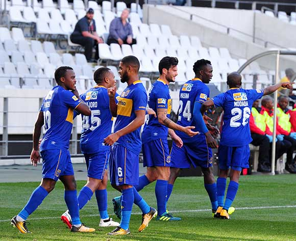 Cape Town City players celebrate a goal scored by Ayanda Patosi (10) during the 2017 MTN8 Semifinal 1st leg fixture between Cape Town City and Bidvest Wits at Cape Town Stadium on 27 August 2017 © Ryan Wilkisky/BackpagePix