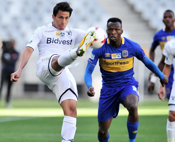 Ahmed Gamal Amr of Bidvest Wits is challenged by Sibusiso Masina of Cape Town City during the 2017 MTN8 Semifinal 1st leg fixture between Cape Town City and Bidvest Wits at Cape Town Stadium on 27 August 2017 © Ryan Wilkisky/BackpagePix