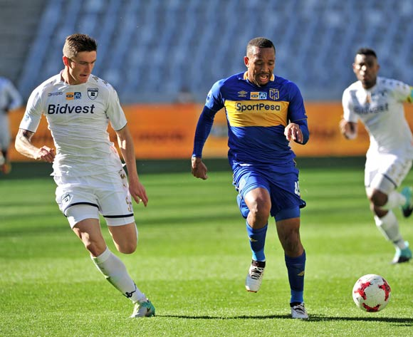 Lehlohonolo Majoro of Cape Town City takes on Slavko Damjanovic of Bidvest Wits during the 2017 MTN8 Semifinal 1st leg fixture between Cape Town City and Bidvest Wits at Cape Town Stadium on 27 August 2017 © Ryan Wilkisky/BackpagePix