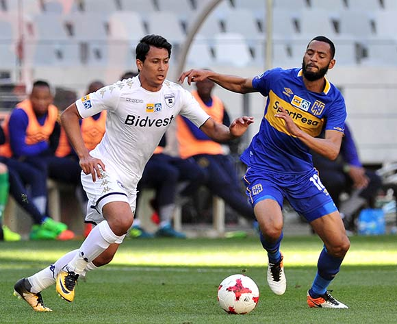 Ahmed Gamal Amr of Bidvest Wits is challenged by Taariq Fielies of Cape Town City during the 2017 MTN8 Semifinal 1st leg fixture between Cape Town City and Bidvest Wits at Cape Town Stadium on 27 August 2017 © Ryan Wilkisky/BackpagePix