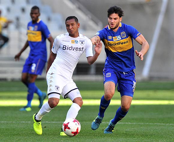 Daine Klate of Bidvest Wits is challenged by Roland Putsche of Cape Town City during the 2017 MTN8 Semifinal 1st leg fixture between Cape Town City and Bidvest Wits at Cape Town Stadium on 27 August 2017 © Ryan Wilkisky/BackpagePix