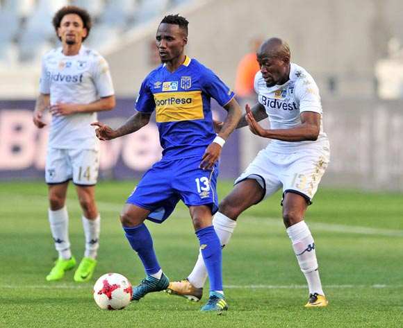 Teko Modise of Cape Town City in control ahead of Sifiso Hlanti of Bidvest Wits during the 2017 MTN8 Semifinal 1st leg fixture between Cape Town City and Bidvest Wits at Cape Town Stadium on 27 August 2017 © Ryan Wilkisky/BackpagePix