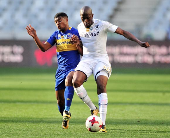 Sifiso Hlanti of Bidvest Wits is challenged by Lyle Lakay of Cape Town City during the 2017 MTN8 Semifinal 1st leg fixture between Cape Town City and Bidvest Wits at Cape Town Stadium on 27 August 2017 © Ryan Wilkisky/BackpagePix