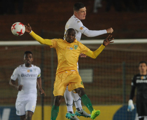 Slavko Damjanovic of Bidvest Wits challenges Lerato Lamola of Golden Arrows during the MTN8 quarterfinal match between Bidvest Wits and Golden Arrows on the 11 August 2017 at Bidvest Stadium © Sydney Mahlangu /BackpagePix