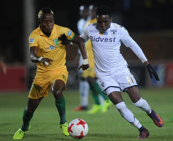 Elias Pelembe of Bidvest Wits is challenged by Kudakwashe Mahachi of Golden Arrows during the MTN8 quarterfinal match between Bidvest Wits and Golden Arrows on the 11 August 2017 at Bidvest Stadium © Sydney Mahlangu /BackpagePix