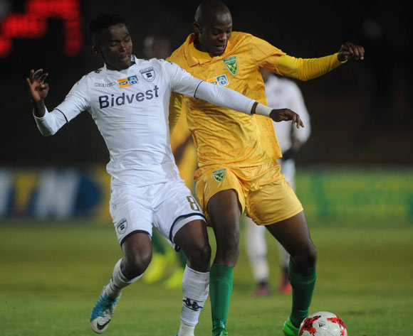 Thabang Monare of Bidvest Wits is challenged by Nkanyiso Cele of Golden Arrows during the MTN8 quarterfinal match between Bidvest Wits and Golden Arrows on the 11 August 2017 at Bidvest Stadium © Sydney Mahlangu /BackpagePix