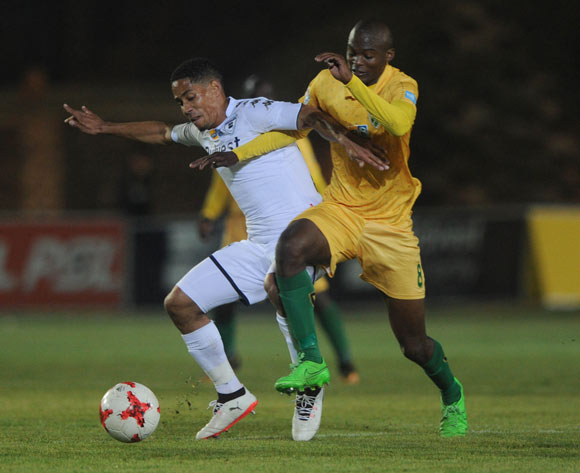 Steven Pienaar of Bidvest Wits is challenged by Nkanyiso Cele of Golden Arrows during the MTN8 quarterfinal match between Bidvest Wits and Golden Arrows on the 11 August 2017 at Bidvest Stadium © Sydney Mahlangu /BackpagePix