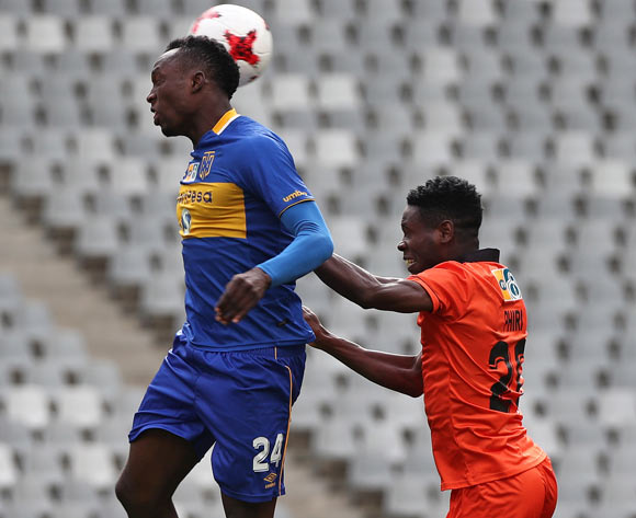 Sibusiso Masina of Cape Town City FC battles for the ball with Salulani Phiri of Polokwane City during the 2017 MTN 8 quarter final football match between Cape Town City FC and Polokwane City at Cape Town Stadium, Cape Town on 12 August 2017  ©Chris Ricco/BackpagePix