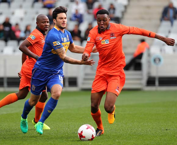 Sammy Seabi of Polokwane City evades challenge from Roland Putsche of Cape Town City FC during the 2017 MTN 8 quarter final football match between Cape Town City FC and Polokwane City at Cape Town Stadium, Cape Town on 12 August 2017  ©Chris Ricco/BackpagePix