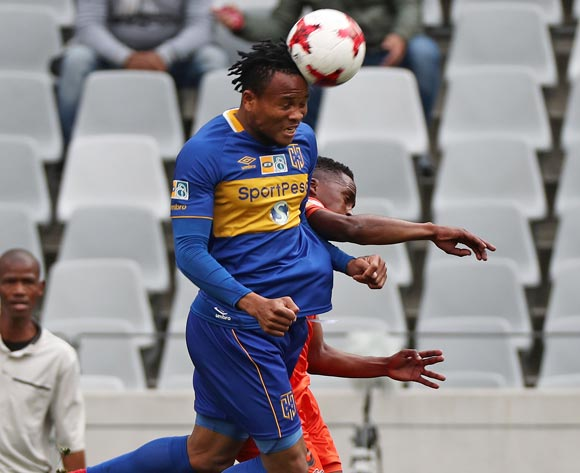 Edmilson Dove of Cape Town City FC battles for the ball with Vusimusi Mngomezulu of Polokwane City during the 2017 MTN 8 quarter final football match between Cape Town City FC and Polokwane City at Cape Town Stadium, Cape Town on 12 August 2017  ©Chris Ricco/BackpagePix