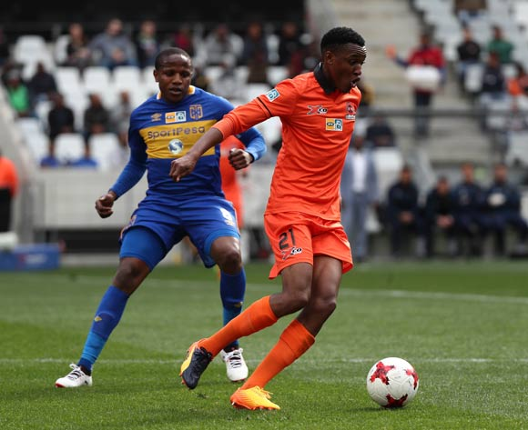 Sammy Seabi of Polokwane City gets away from Lebogang Manyama of Cape Town City FC during the 2017 MTN 8 quarter final football match between Cape Town City FC and Polokwane City at Cape Town Stadium, Cape Town on 12 August 2017  ©Chris Ricco/BackpagePix