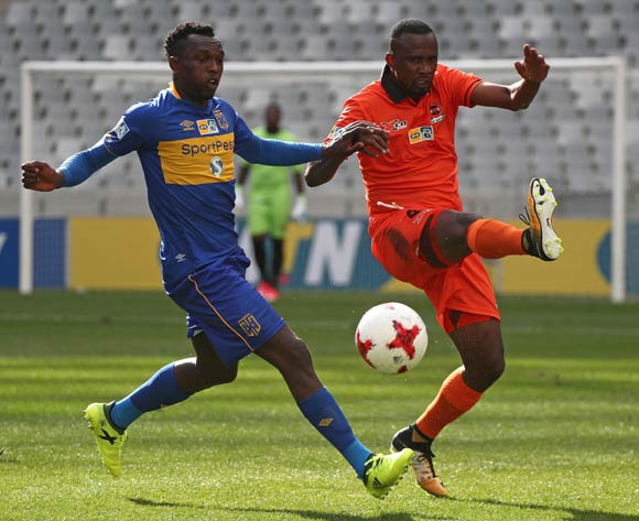 Thapelo Tshilo of Polokwane City clears ball from Sibusiso Masina of Cape Town City FC during the 2017 MTN 8 quarter final football match between Cape Town City FC and Polokwane City at Cape Town Stadium, Cape Town on 12 August 2017  ©Chris Ricco/BackpagePix