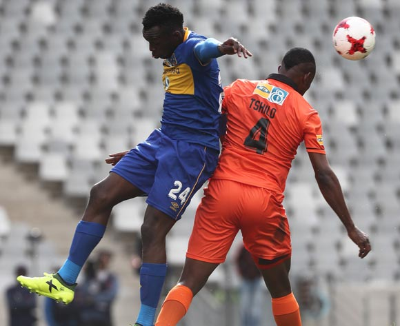 Thapelo Tshilo of Polokwane City battles for the ball with  Sibusiso Masina of Cape Town City FC during the 2017 MTN 8 quarter final football match between Cape Town City FC and Polokwane City at Cape Town Stadium, Cape Town on 12 August 2017  ©Chris Ricco/BackpagePix