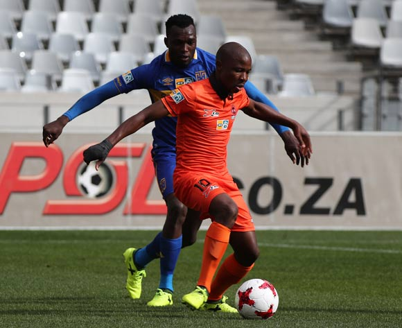 Puleng Tlolane of Polokwane City evades challenge from Sibusiso Masina of Cape Town City FC during the 2017 MTN 8 quarter final football match between Cape Town City FC and Polokwane City at Cape Town Stadium, Cape Town on 12 August 2017  ©Chris Ricco/BackpagePix
