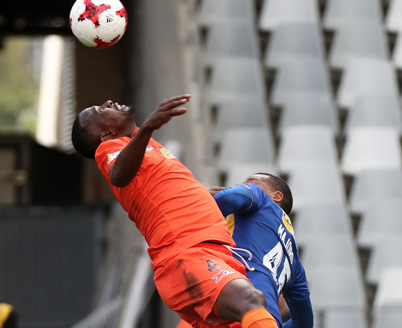 Thapelo Tshilo of Polokwane City battles for the ball with Lehlohonolo Majoro of Cape Town City FC during the 2017 MTN 8 quarter final football match between Cape Town City FC and Polokwane City at Cape Town Stadium, Cape Town on 12 August 2017  ©Chris Ricco/BackpagePix