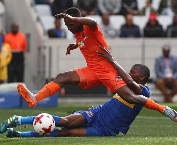 Vusimusi Mngomezulu of Polokwane City fouled by Thamsanqa Mkhize of Cape Town City FC during the 2017 MTN 8 quarter final football match between Cape Town City FC and Polokwane City at Cape Town Stadium, Cape Town on 12 August 2017  ©Chris Ricco/BackpagePix