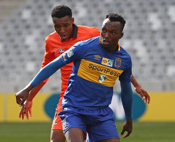 Sibusiso Masina of Cape Town City FC evades challenge from Sammy Seabi of Polokwane City during the 2017 MTN 8 quarter final football match between Cape Town City FC and Polokwane City at Cape Town Stadium, Cape Town on 12 August 2017  ©Chris Ricco/BackpagePix