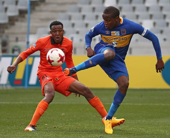 Lebogang Manyama of Cape Town City FC evades challenge from Sammy Seabi of Polokwane City during the 2017 MTN 8 quarter final football match between Cape Town City FC and Polokwane City at Cape Town Stadium, Cape Town on 12 August 2017  ©Chris Ricco/BackpagePix