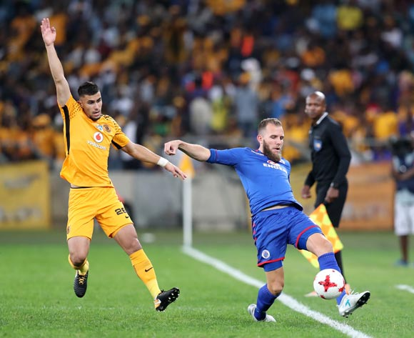 Jeremy Brockie of Supersport United challenged by Lorenzo Gordhino of Kaizer Chiefs during 2017 MTN8 match between Kaizer Chiefs and Supersport United at Moses Mabhida Stadium, Durban South Africa on 12 August 2017 ©Muzi Ntombela/BackpagePix