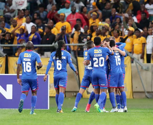 Jeremy Brockie of Supersport United celebrates goal during 2017 MTN8 match between Kaizer Chiefs and Supersport United at Moses Mabhida Stadium, Durban South Africa on 12 August 2017 ©Muzi Ntombela/BackpagePix