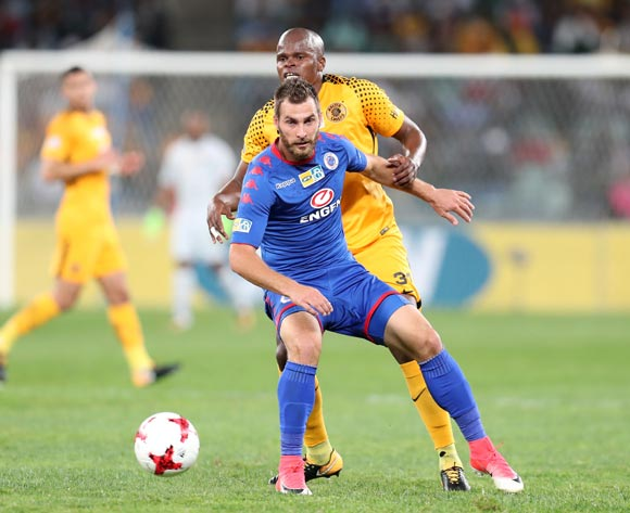 Bradley Grobler of Supersport United challenged by Willard Katsande of Kaizer Chiefs during 2017 MTN8 match between Kaizer Chiefs and Supersport United at Moses Mabhida Stadium, Durban South Africa on 12 August 2017 ©Muzi Ntombela/BackpagePix