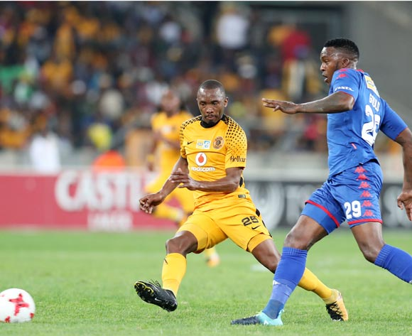 Bernard Parker of Kaizer Chiefs challenged by Morgan Gould of Supersport United during 2017 MTN8 match between Kaizer Chiefs and Supersport United at Moses Mabhida Stadium, Durban South Africa on 12 August 2017 ©Muzi Ntombela/BackpagePix