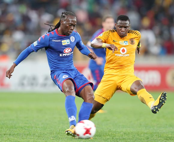 Reneilwe Letsholonyane of Supersport United challenged by George Maluleka of Kaizer Chiefs during 2017 MTN8 match between Kaizer Chiefs and Supersport United at Moses Mabhida Stadium, Durban South Africa on 12 August 2017 ©Muzi Ntombela/BackpagePix