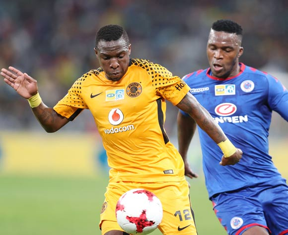 George Maluleka of Kaizer Chiefs challenged by Morgan Gould of Supersport United during 2017 MTN8 match between Kaizer Chiefs and Supersport United at Moses Mabhida Stadium, Durban South Africa on 12 August 2017 ©Muzi Ntombela/BackpagePix