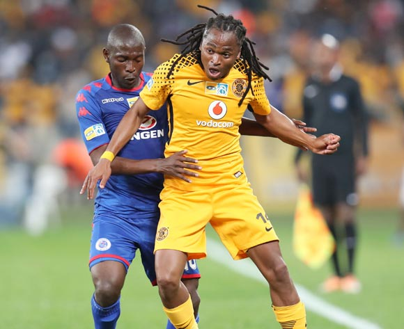 Siphiwe Tshabalala of Kaizer Chiefs challenged by Aubrey Modiba of Supersport United during 2017 MTN8 match between Kaizer Chiefs and Supersport United at Moses Mabhida Stadium, Durban South Africa on 12 August 2017 ©Muzi Ntombela/BackpagePix