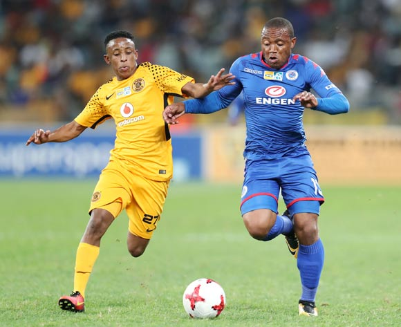 Thuso Phala of Supersport United challenged by Hendrick Ekstein of Kaizer Chiefs during 2017 MTN8 match between Kaizer Chiefs and Supersport United at Moses Mabhida Stadium, Durban South Africa on 12 August 2017 ©Muzi Ntombela/BackpagePix