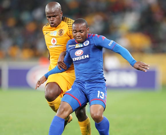 Thuso Phala of Supersport United challenged by Willard Katsande of Kaizer Chiefs during 2017 MTN8 match between Kaizer Chiefs and Supersport United at Moses Mabhida Stadium, Durban South Africa on 12 August 2017 ©Muzi Ntombela/BackpagePix