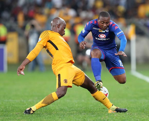 Thuso Phala of Supersport United tackled by Willard Katsande of Kaizer Chiefs during 2017 MTN8 match between Kaizer Chiefs and Supersport United at Moses Mabhida Stadium, Durban South Africa on 12 August 2017 ©Muzi Ntombela/BackpagePix