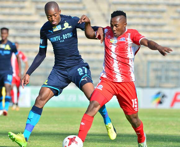 Thapelo Morena of Mamelodi Sundowns challenged by Lebohang Maboe of Maritzburg United during the 2017 MTN8 match between Mamelodi Sundowns and Maritzburg United at the Lucas Moripe Stadium in Pretoria on 13 August 2017 ©Samuel Shivambu/BackpagePix