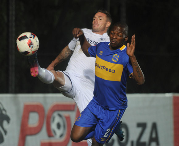James Keene of Bidvest Wits is challenged by Thamsanqa Mkhize of Cape Town City during the Absa Premiership match between Bidvest Wits and Cape Town City on the 18 August 2017 at Bidvest  Stadium © Sydney Mahlangu /BackpagePix