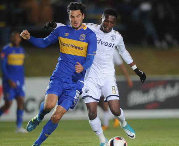 Thabang Monare of Bidvest Wits is challenged by Roland Putsche of Cape Town City during the Absa Premiership match between Bidvest Wits and Cape Town City on the 18 August 2017 at Bidvest  Stadium © Sydney Mahlangu /BackpagePix