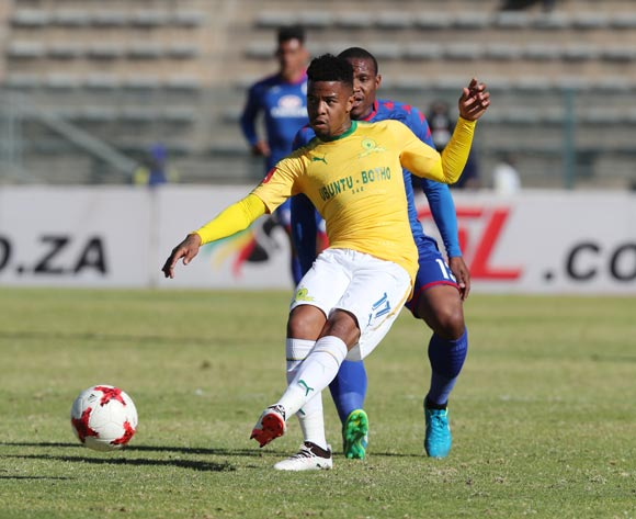 George Lebese of Mamelodi Sundowns plays ball away from Thuso Phala of Supersport United during the 201/18 Absa Premiership football match between Supersport United and Sundowns at Lucas Moripe Stadium, Pretoria on 19 August 2017 ©Gavin Barker/BackpagePix