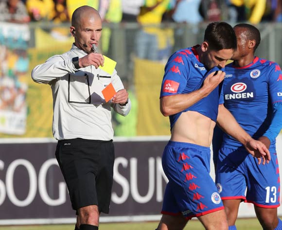 Referee Victor Gomes sends off Dean Furman of Supersport United after second yellow card during the 201/18 Absa Premiership football match between Supersport United and Sundowns at Lucas Moripe Stadium, Pretoria on 19 August 2017 ©Gavin Barker/BackpagePix