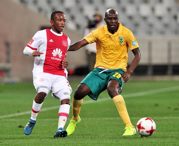 Ayanda Makua of Ajax Cape Town is challenged by Musa Bilankulu of Golden Arrows during the Absa Premiership 2017/18 game between Ajax Cape Town and Golden Arrows  a Cape Town Stadium on 19 August 2017 © Ryan Wilkisky/BackpagePix
